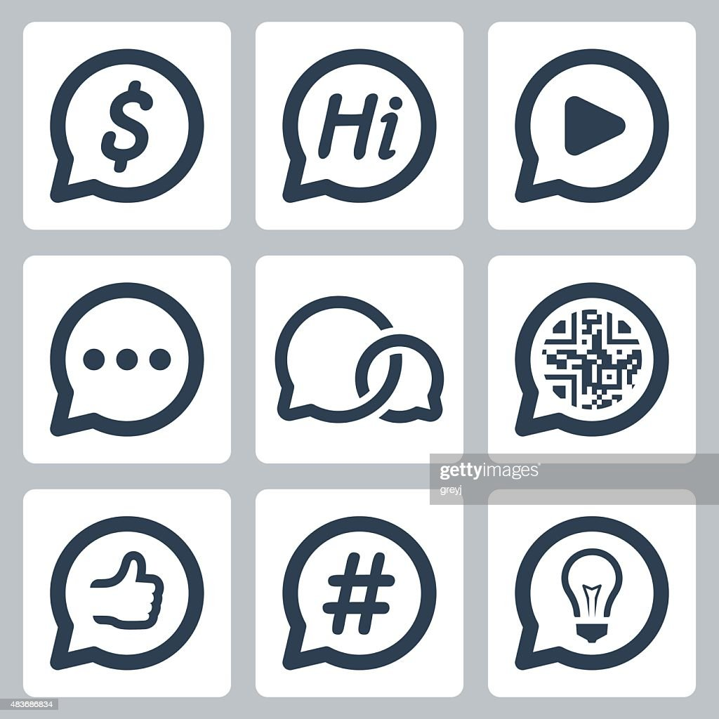 Bubble speeches concepts vector icon set