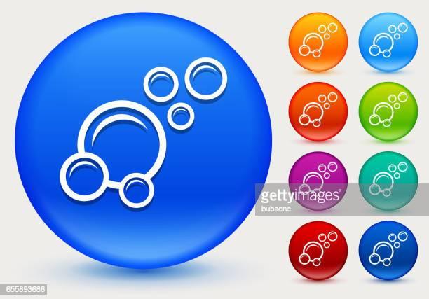 illustrations, cliparts, dessins animés et icônes de icône de bulles sur le cercle de couleur brillante boutons - station de lavage auto
