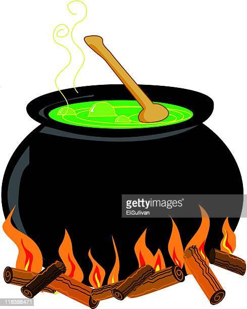 bubbling cauldron - cauldron stock illustrations, clip art, cartoons, & icons