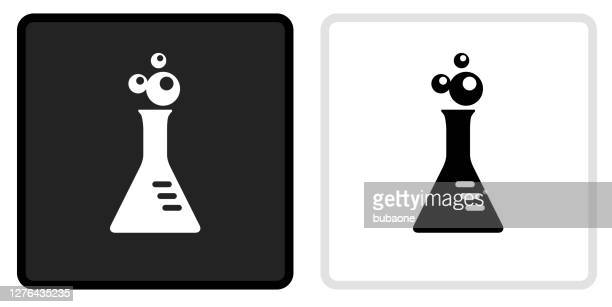 bubbling flask icon on  black button with white rollover - laboratory flask stock illustrations