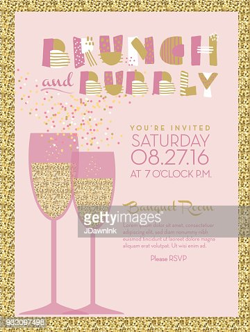 Bubbly Champagne Social Event Invitation Design Template