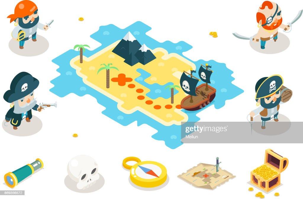 Buccaneer Filibuster Corsair Ocean Sea Dog Pirate Treasure Adventure Game RPG Map Characters Icon Isometric Symbol isolated Flat Design Vector Illustration