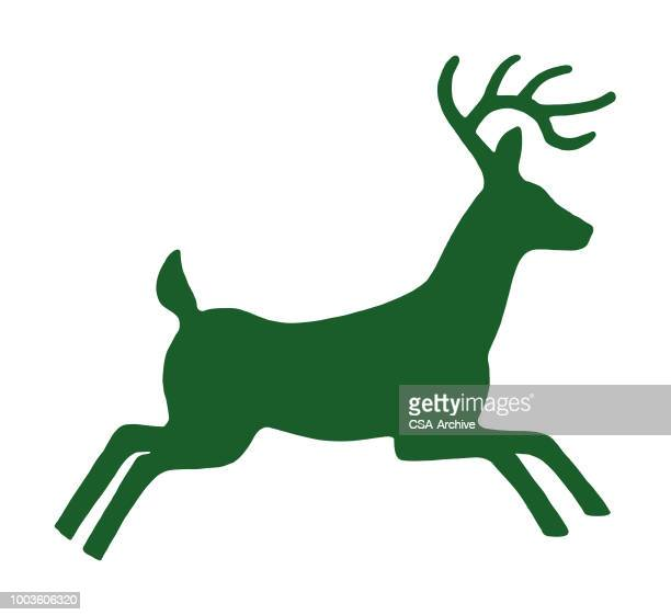 buck running - stag stock illustrations