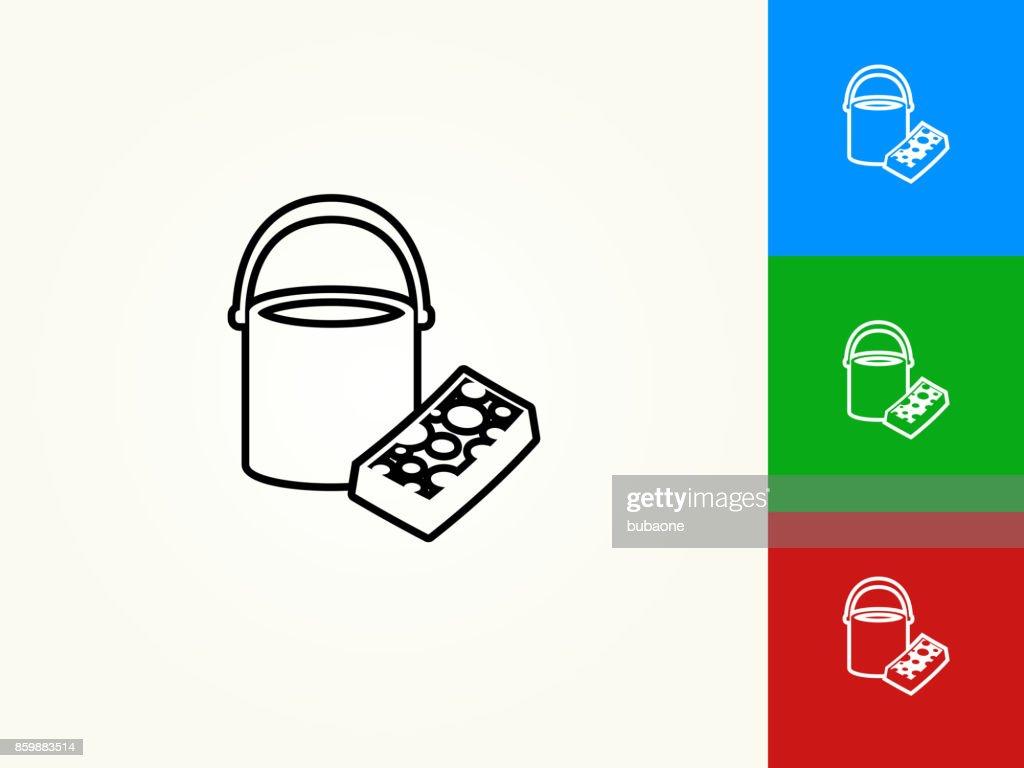 Bucket and Sponge Black Stroke Linear Icon
