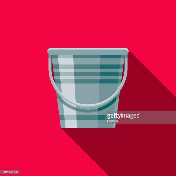 illustrations, cliparts, dessins animés et icônes de design plat seau nettoyage icône avec côté ombre - seau