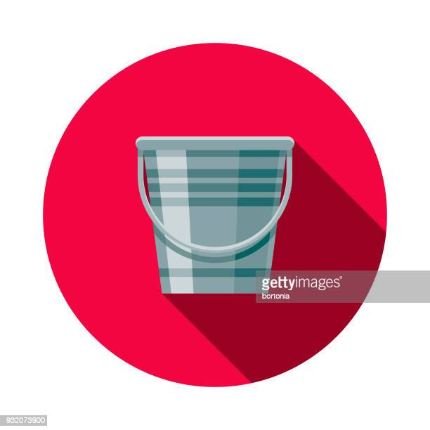 Eimer-flachen Design Reinigung Symbol mit Seite Schatten