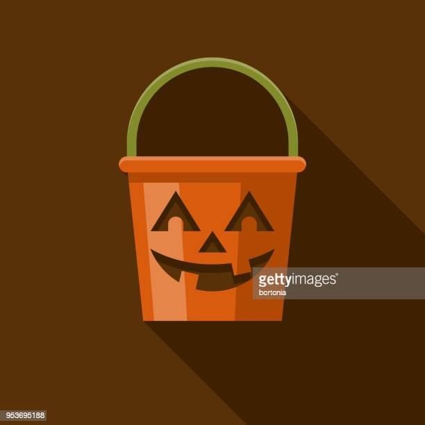 illustrations, cliparts, dessins animés et icônes de seau design plat halloween icône avec côté ombre - seau