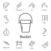 bucket icon. Simple element illustration. bucket symbol design from Construction collection set. Can be used for web and mobile