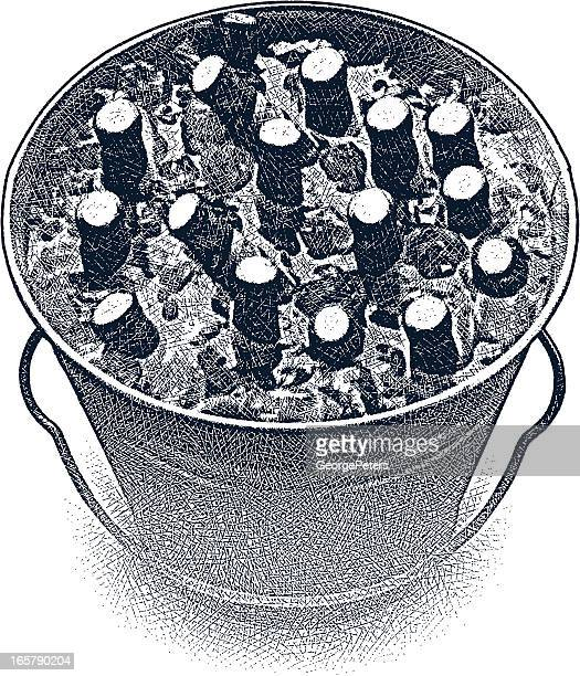 bucket of cold beer - ice bucket stock illustrations, clip art, cartoons, & icons