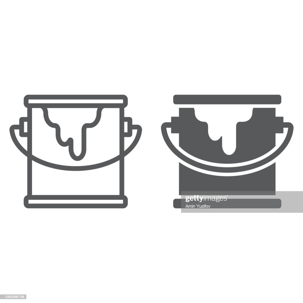 Bucket of paint line and glyph icon, paint and container, can sign, vector graphics, a linear pattern on a white background.