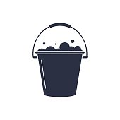 Bucket of water icon vector isolated, pail or bucketful with foam and bubbles. Gardening equipment