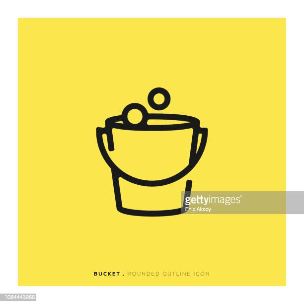 bucket rounded line icon - housework stock illustrations