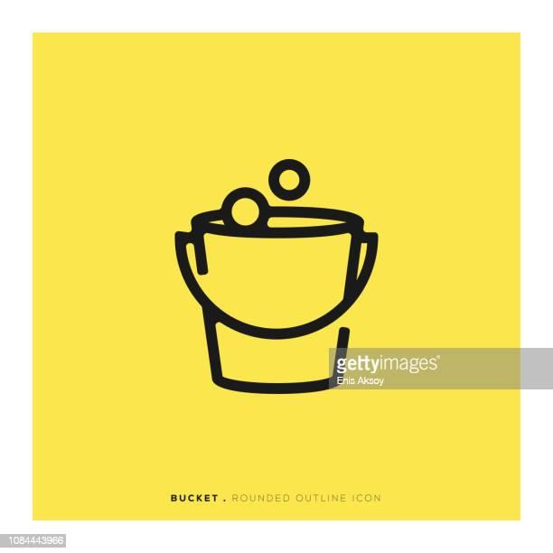 illustrations, cliparts, dessins animés et icônes de icône de ligne arrondi de seau - seau