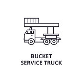 bucket service truck vector line icon, sign, illustration on background, editable strokes