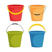 Bucket vector illustration in flat design  isolated on white background