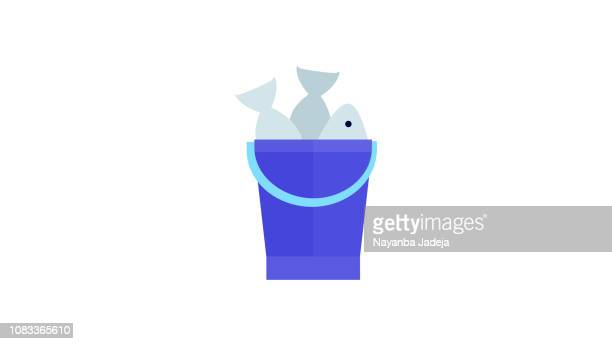 Bucket with fish icon