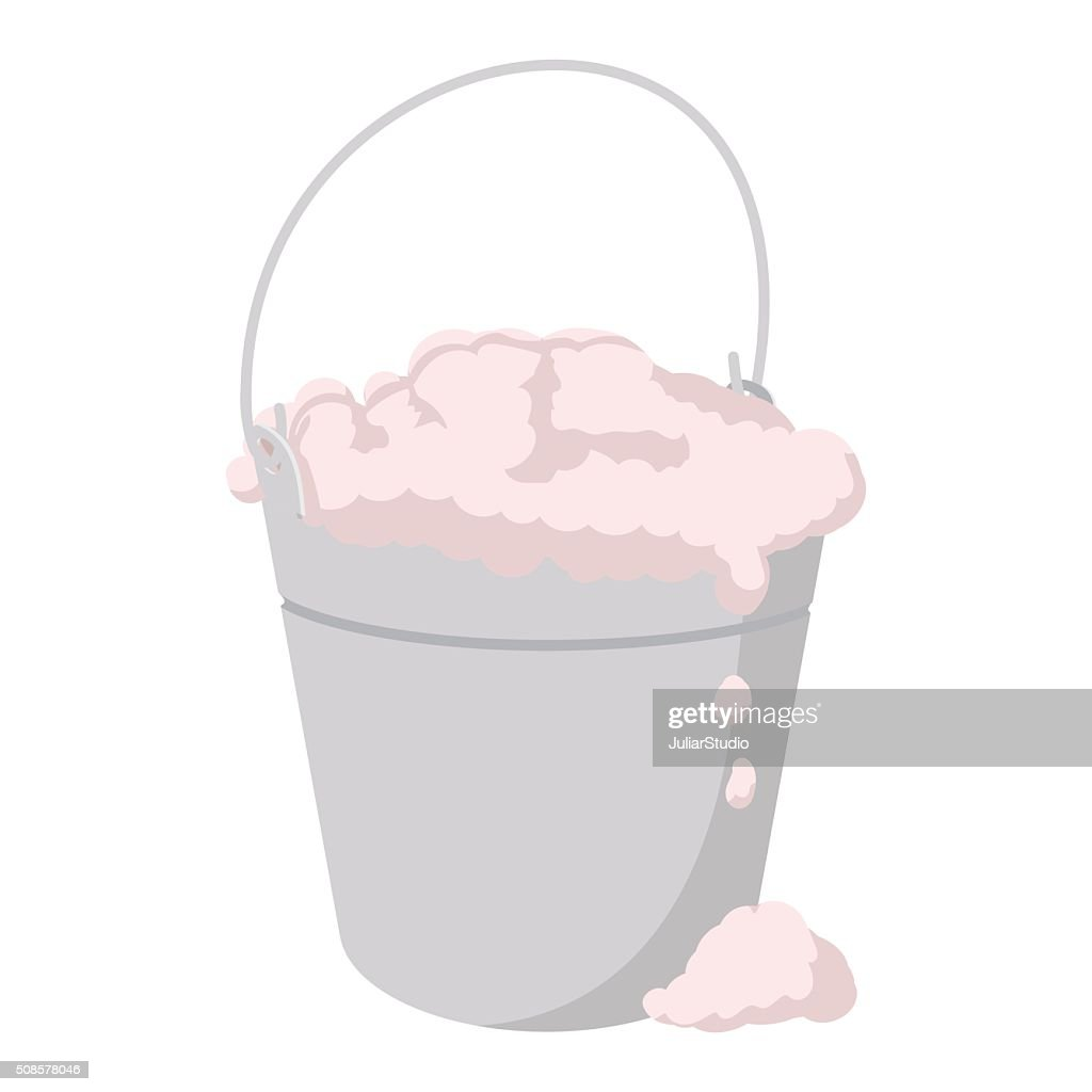 Bucket with foamy water cartoon icon : Vector Art