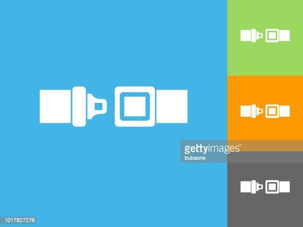 青の背景にフラット アイコンをバックルします。 - バックル点のイラスト素材/クリップアート素材/マンガ素材/アイコン素材