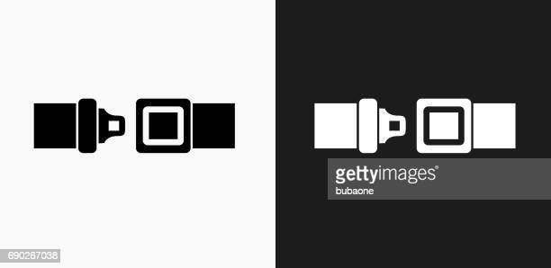 Buckle Up Icon on Black and White Vector Backgrounds