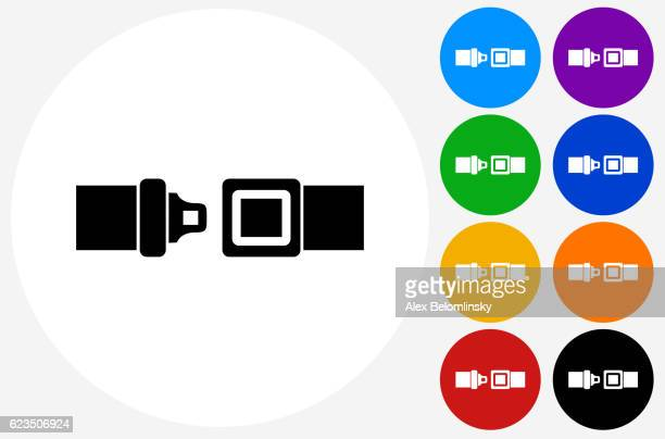 Buckle Up Icon on Flat Color Circle Buttons