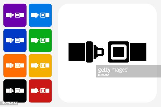 Buckle Up Icon Square Button Set