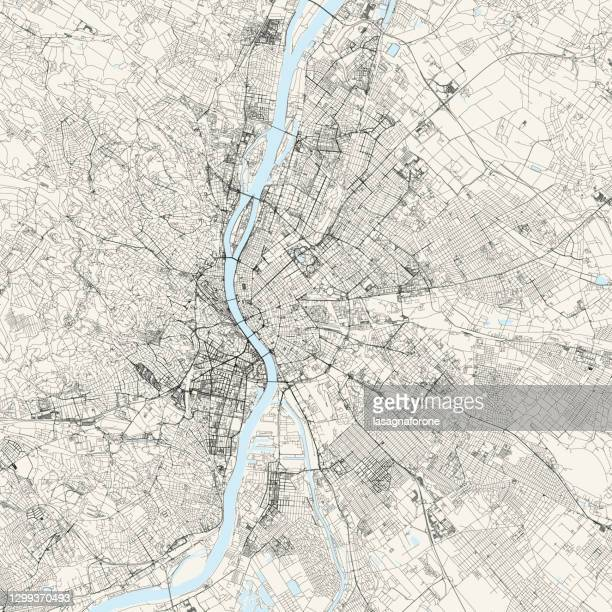 budapest, hungary vector map - capital region stock illustrations