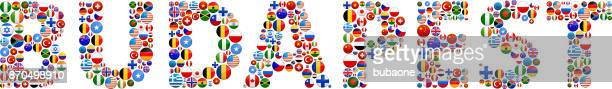 Budapest World Flags Vector Buttons