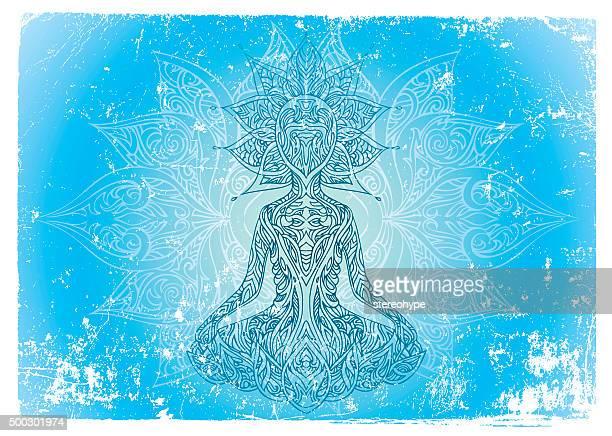 buddha being - soul music stock illustrations