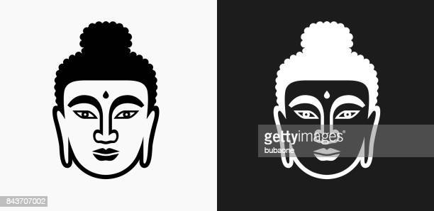 buddha face icon on black and white vector backgrounds - buddha stock illustrations