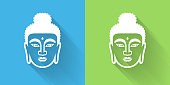 buddha face icon with long shadow