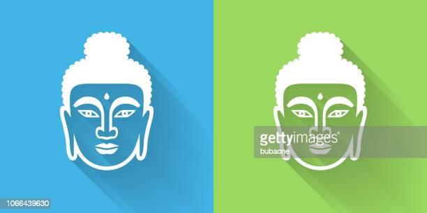 ilustraciones, imágenes clip art, dibujos animados e iconos de stock de icono de la cara de buda con sombra - buda