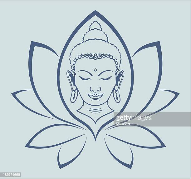 buddha face - lotus position stock illustrations, clip art, cartoons, & icons