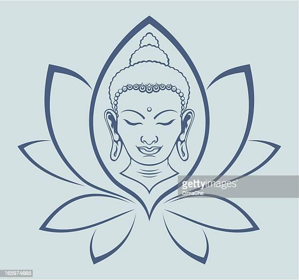 stockillustraties, clipart, cartoons en iconen met buddha face - boeddhisme