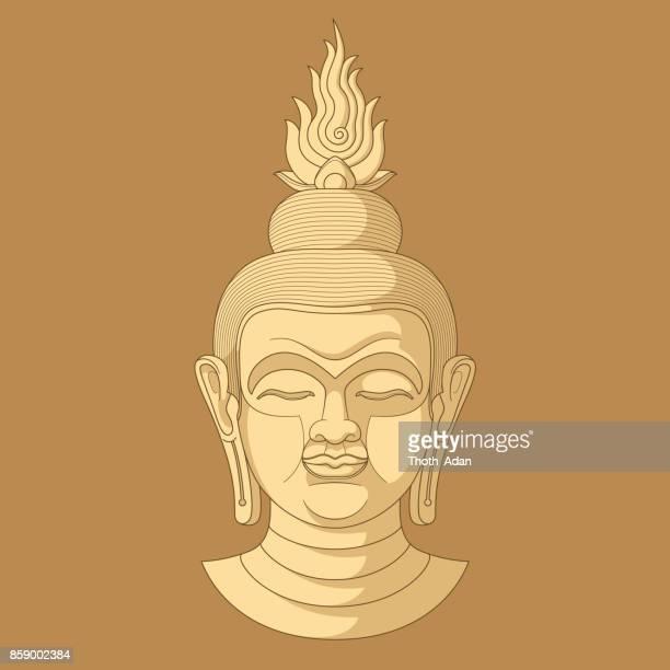 Buddha Head n° 6 (Three tones, Ochre)
