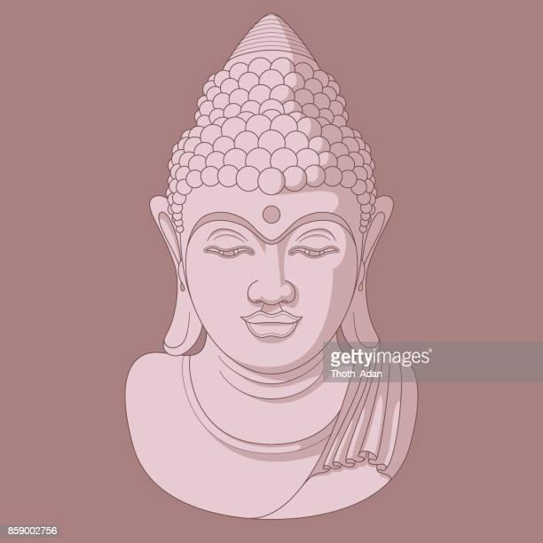 illustrazioni stock, clip art, cartoni animati e icone di tendenza di buddha head n° 8 (tre toni, rosa scuro) - rosa pallido