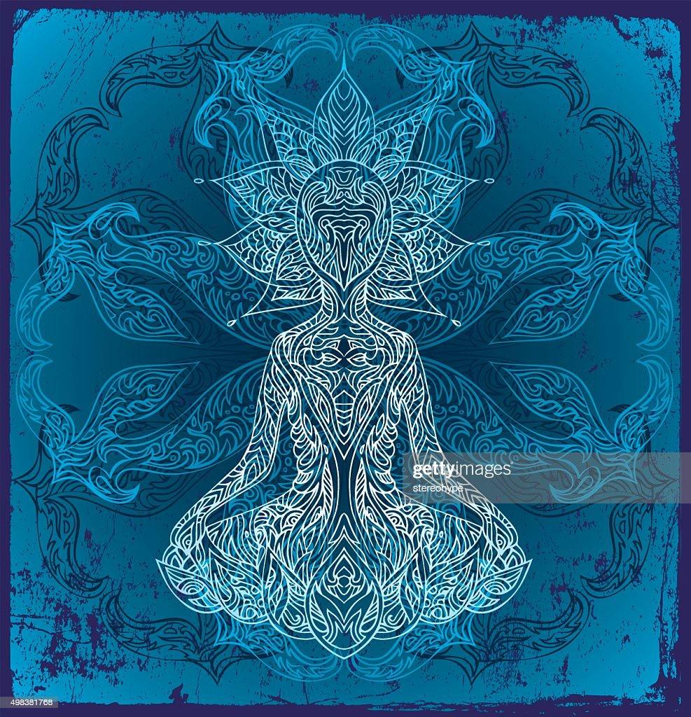 buddha on blue : stock illustration