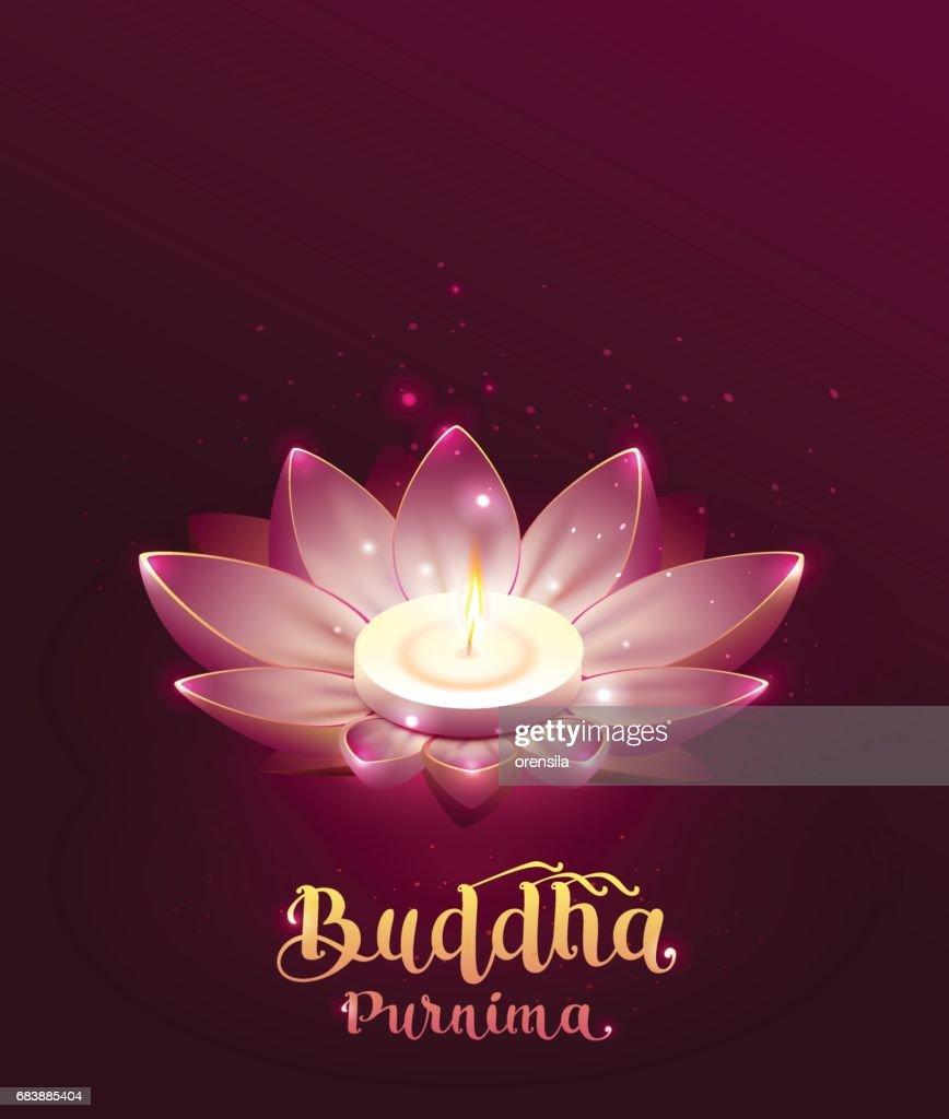 Buddha Purnima Vesak Day Lettring Text Greeting Card Lotus Flower