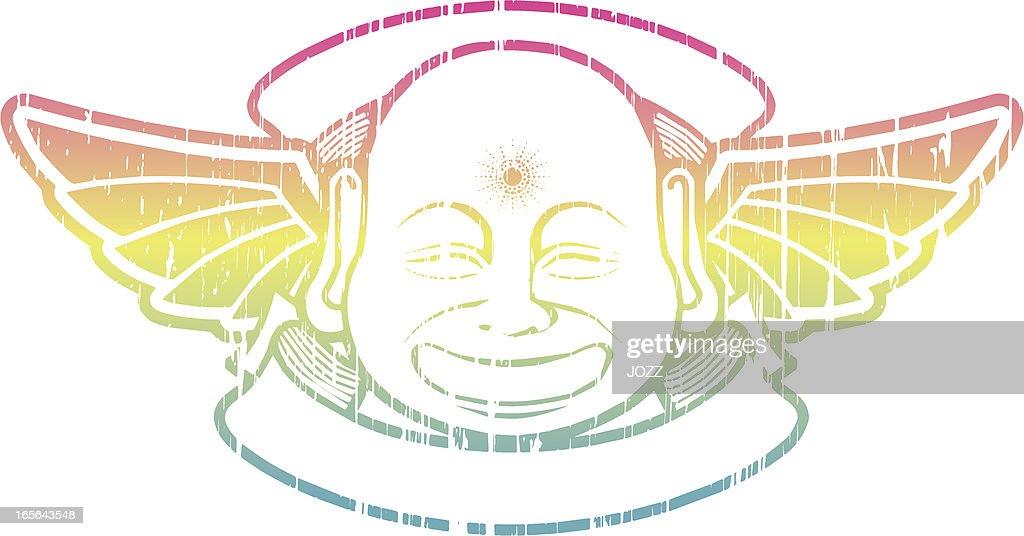 buddha retro logo : stock illustration