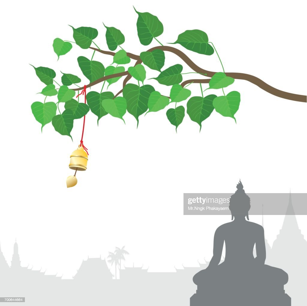Buddha statue and Bodhi tree with Golden bell of thai tradition, Visakha Puja Day