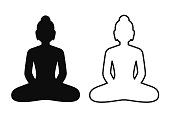 Buddha statue silhouette icon