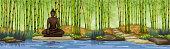 Buddha statue.Bamboo forest background.Meditation