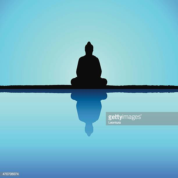 buddha - lotus position stock illustrations, clip art, cartoons, & icons