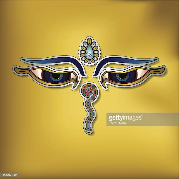 Buddha's eyes on yellow background – (Buddhist Symbol)