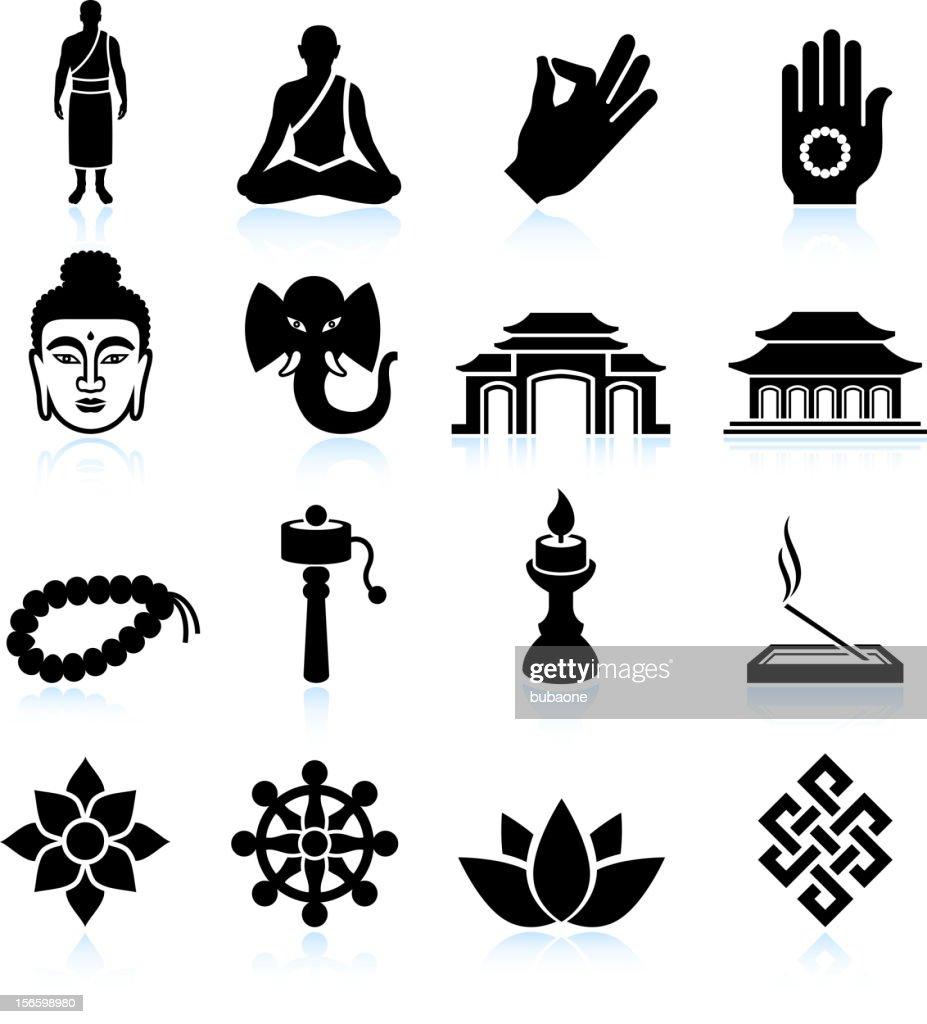 Buddhism black & white royalty free vector icon set