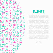 Buddhism concept with thin line icons: yoga, meditation, Buddha, Yin-Yang, candles, Aum letter, aromatherapy, pagoda, temple. Modern vector illustration for web page template.