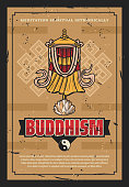 Buddhism religion victory banner flag retro poster