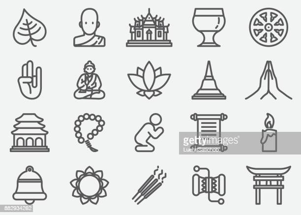 Buddhism Yoga Line Icons