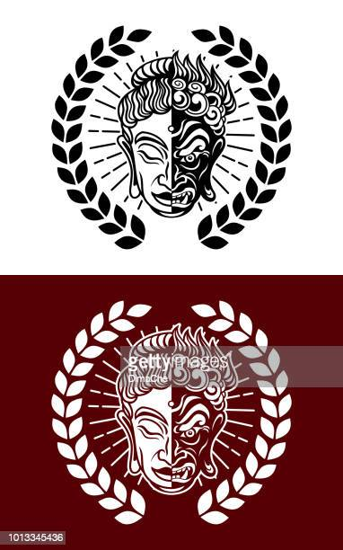 Buddhist Evil Hannya and Calm Buddha Mask Mixed Icon Emblem