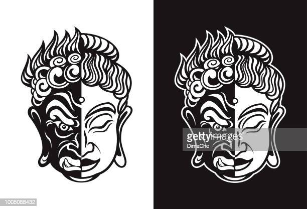 Buddhist Evil Hannya and Calm Buddha Mask