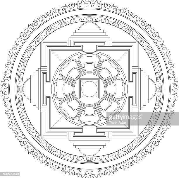 Buddhist Kalachakra Mandala (Construction / Line drawing)